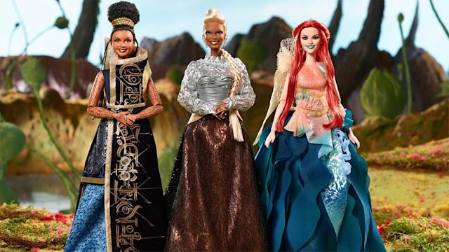 Mattel's Barbie-style dolls of Mindy Kaling, Oprah Winfrey, and Reese Witherspoon's characters in <em>A Wrinkle in Time</em>. (Photo: Mattel)