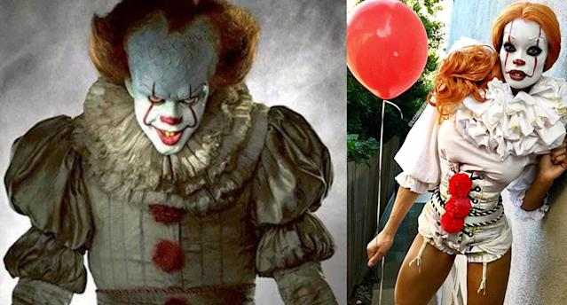 The scary Pennywise clown, left, is going to be created over and over again this Halloween — which is why Alicia Marie, in character at right, has defended a makeup artist from critics on YouTube. (Photo: Warner Bros. Pictures; Facebook/ Alicia Marie Live)