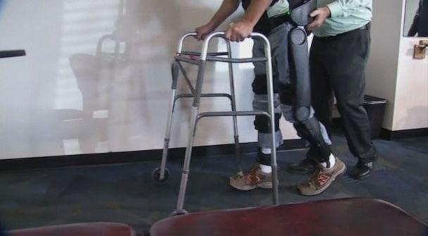 PHOTO: Lyle Fleming, from Chapmanville, West Virginia, is walking again with help from a robotic device. (WCHS)