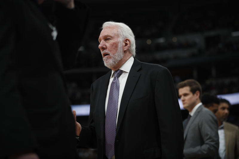 San Antonio Spurs head coach Gregg Popovich in the second half of an NBA basketball game Monday, Feb.10, 2020, in Denver. The Nuggets won 127-120. (AP Photo/David Zalubowski)