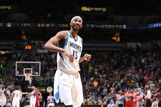 MINNEAPOLIS, MN - April 11: Corey Brewer #13 of the Minnesota Timberwolves looks on during the game against the Houston Rockets on April 11, 2014 at Target Center in Minneapolis, Minnesota. (Photo by David Sherman/NBAE via Getty Images)