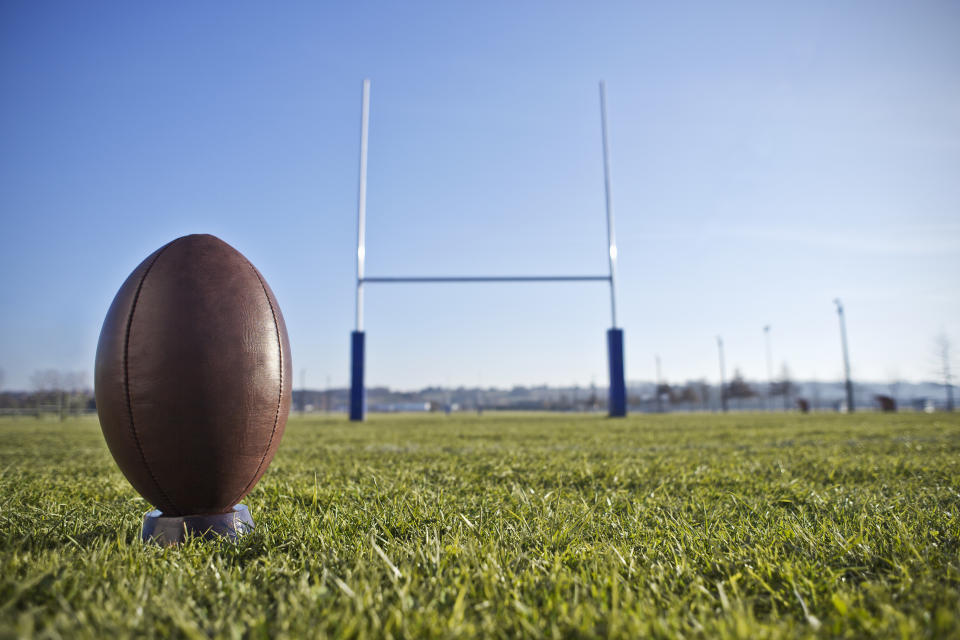 Rugby ball ready to be kicked