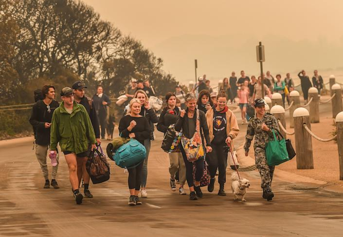 People stranded in Mallacoota, Victoria had to be evacuated by army personnel after bushfires ravaged the town.