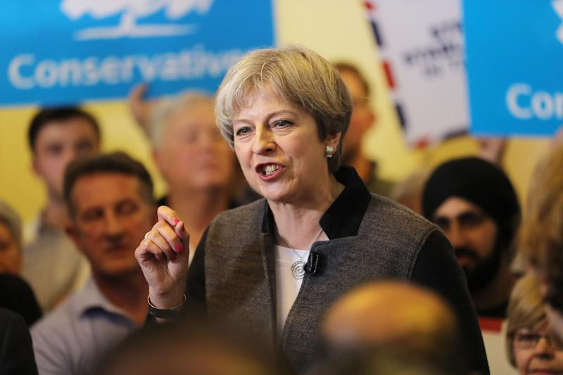 Prime Minster Theresa May at Netherton Conservative Club in Dudley - PA Wire/PA Images