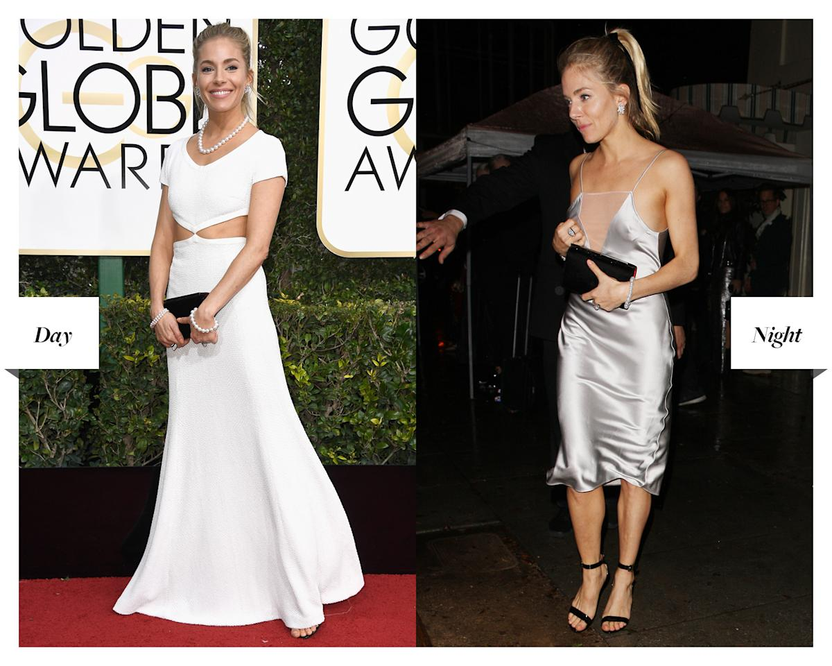 <p>Miller switched from a Michael Kors Collection gown to a silver slip dress for Jimmy Fallon's afterparty in West Hollywood. </p>