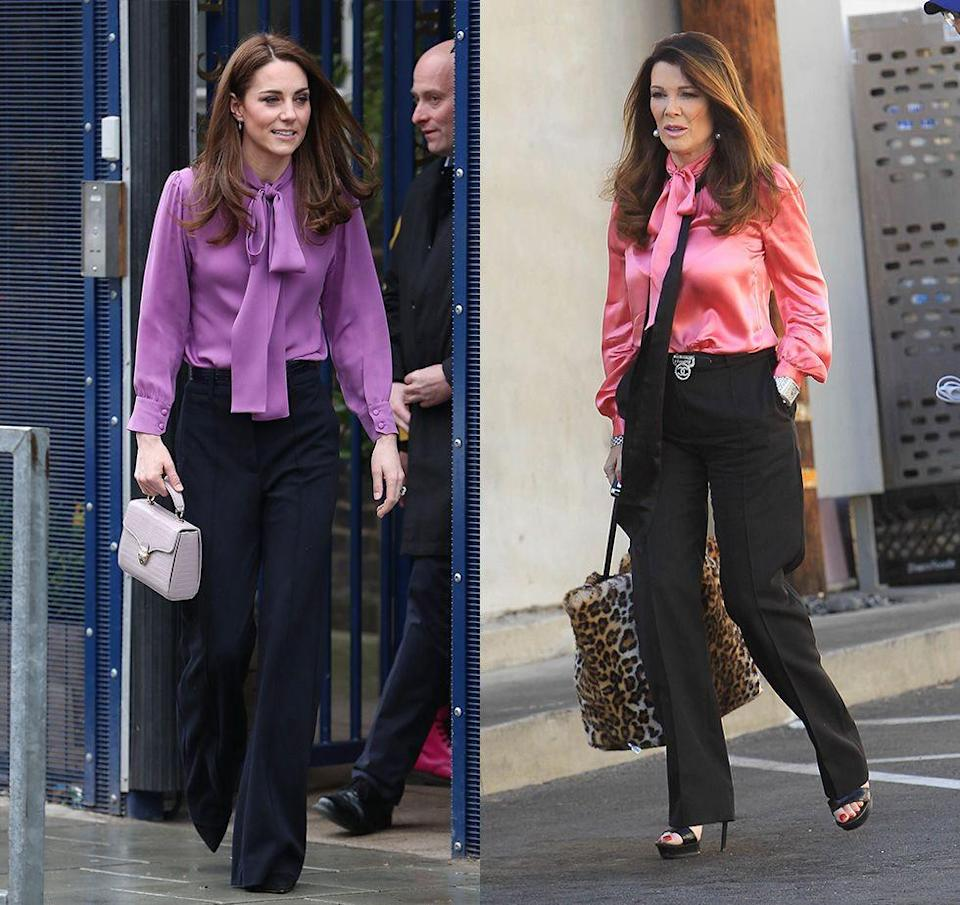 <p>The Duchess of Cambridge wore a purple bow blouse and navy slacks for a visit to the Henry Fawcett Children's Centre. The polished business casual look reminded us of a style often worn by reality star Lisa Vanderpump. </p>