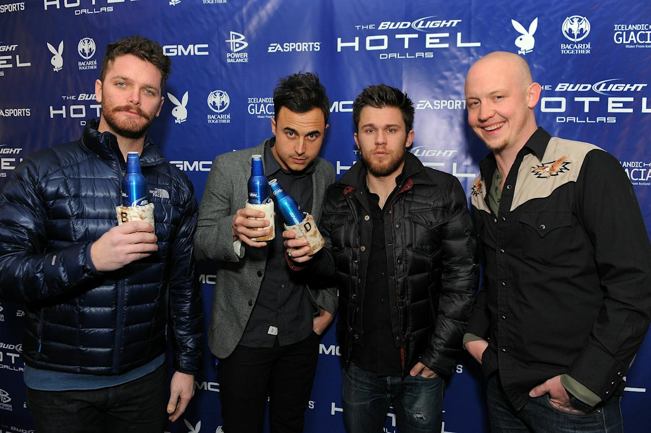 DALLAS, TX - FEBRUARY 03:  (L-R) Musicians Ben Wysocki, Joe King,  David Welsh  and Isaac Slade of The Fray attend the Bud Light Hotel with performances by The Fray and Lifehouse on February 3, 2011 in Dallas, Texas.  (Photo by Jordan Strauss/Getty Images for Bud Light)