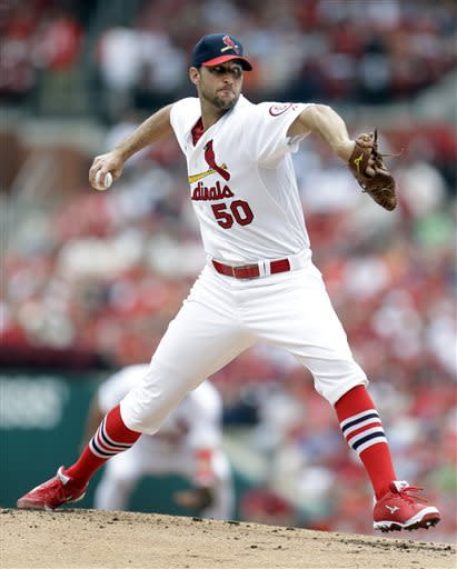 St. Louis Cardinals starting pitcher Adam Wainwright throws during the second inning of a baseball game against the San Diego Padres, Sunday, July 21, 2013, in St. Louis. (AP Photo/Jeff Roberson)