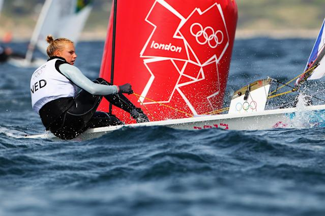 WEYMOUTH, ENGLAND - JULY 30: Marit Bouwmeester of Netherlands competes in the Laser Radial Women's Sailing on Day 3 of the London 2012 Olympic Games at Weymouth Harbour on July 30, 2012 in Weymouth, England. (Photo by Richard Langdon/Getty Images)
