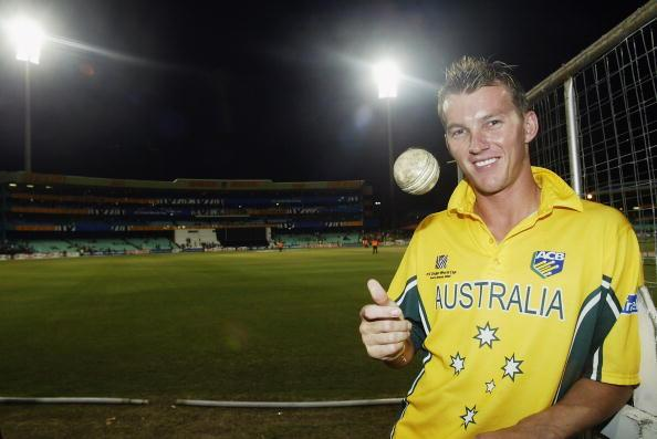 DURBAN- MARCH 15:  Brett Lee of Australia with the ball he took a hat trick with during the World Cup Super Six One Day International match between Australia and Kenya held on March 15, 2003 played at Kingsmead, Durban, South Africa.  Australia won the match by 5 wickets. (Photo by Hamish Blair/Getty Images)