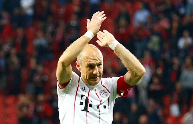 Soccer Football - DFB Cup - Bayer Leverkusen vs Bayern Munich - BayArena, Leverkusen, Germany - April 17, 2018 Bayern Munich's Arjen Robben celebrates after the match REUTERS/Thilo Schmuelgen DFB RULES PROHIBIT USE IN MMS SERVICES VIA HANDHELD DEVICES UNTIL TWO HOURS AFTER A MATCH AND ANY USAGE ON INTERNET OR ONLINE MEDIA SIMULATING VIDEO FOOTAGE DURING THE MATCH.