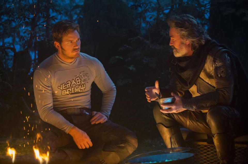<p>Star-Lord spends some quality time with Dad over a campfire. (Photo: Marvel) </p>