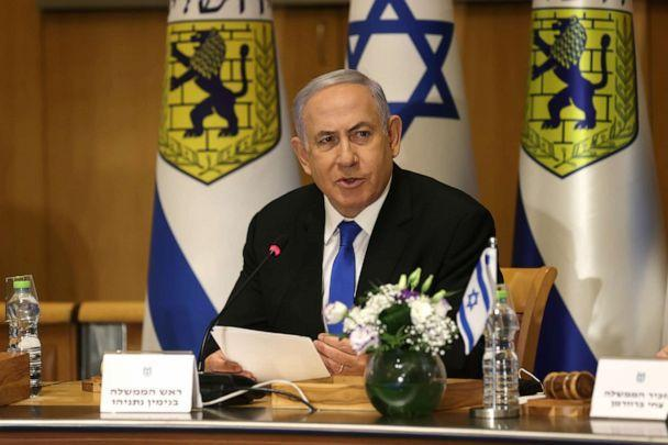 PHOTO: Israeli Prime Minister Benjamin Netanyahu attends a special cabinet meeting on the occasion of Jerusalem Day, in Jerusalem, May 9, 2021.  (Amit Shabi/Pool via Reuters)