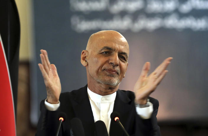FILE - In this March 21, 2021 file photo, Afghan President Ashraf Ghani speaks during a ceremony celebrating the Persian New Year, Nowruz at the presidential palace in Kabul, Afghanistan. Afghanistan's embattled president left the country Sunday, Aug. 15, 2021, joining his fellow citizens and foreigners in a stampede fleeing the advancing Taliban and signaling the end of a 20-year Western experiment aimed at remaking Afghanistan. (AP Photo/Rahmat Gul, File)