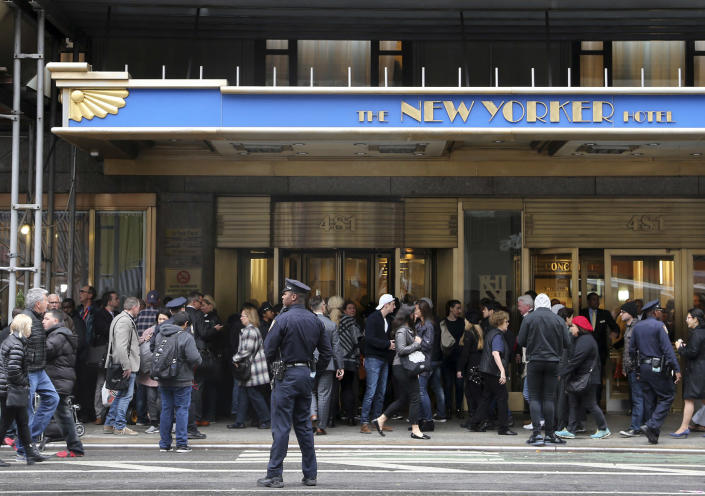 <p>Members of the media gather in front of The New Yorker Hotel in anticipation of a statement from Democratic presidential candidate Hillary Clinton in New York, Wednesday, Nov. 9, 2016. It will be her first public remarks since her stunning defeat to Donald Trump in the U.S. presidential election. (AP Photo/Seth Wenig) </p>