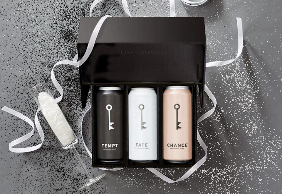 """<p><a class=""""link rapid-noclick-resp"""" href=""""https://winesociety.com/products/3-pack"""" rel=""""nofollow noopener"""" target=""""_blank"""" data-ylk=""""slk:BUY NOW"""">BUY NOW</a><strong><em> $37 per month for 3 cans</em></strong></p><p>If you're partial to the canned wine trend, you can get that via subscription box, too. Each of WineSociety's classic blends (red, white, and rosé) clock in at 500 mL, which amounts to about four glasses per can. And not that this'll even be of concern to you, but the cans last more than a year (as if...).</p>"""