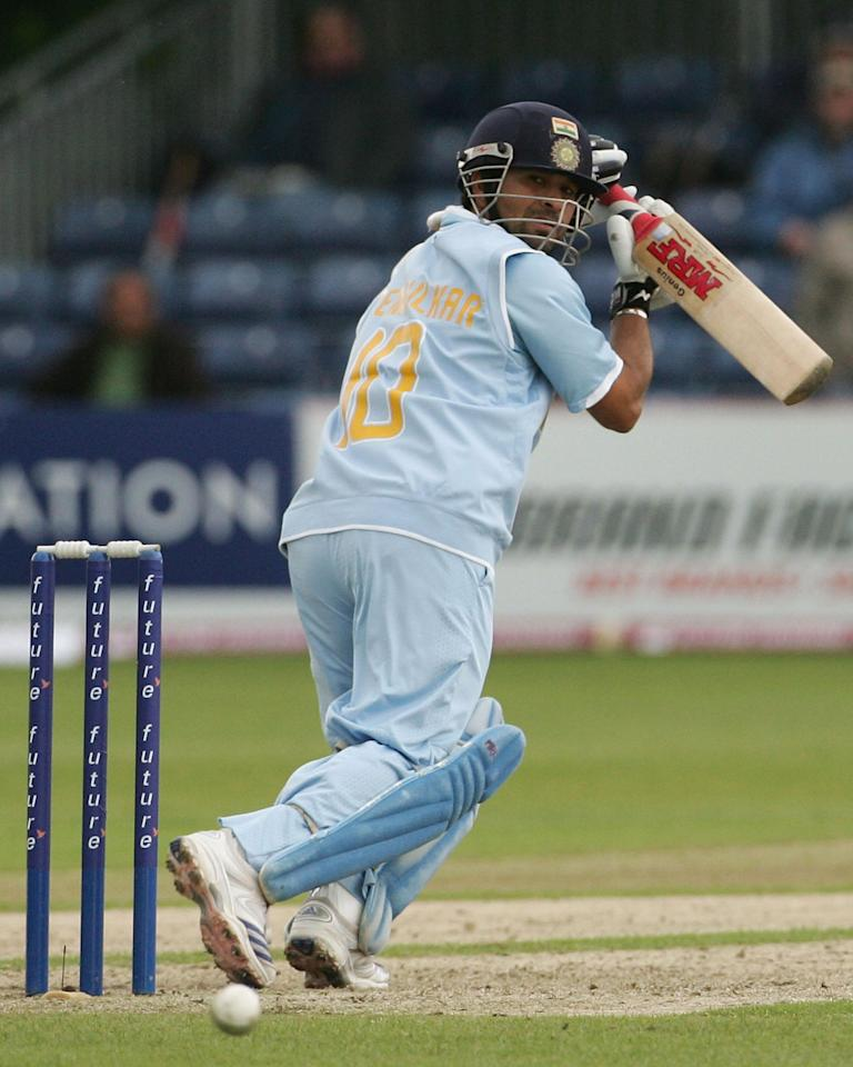 BELFAST, UNITED KINGDOM - JUNE 29:  Sachin Tendulkar of India runs the ball to third man during the second One Day International match between South Africa and India at the Civil Service Cricket Club in Stormont on June 29, 2007 in Belfast, Northern Ireland.  (Photo by Hamish Blair/Getty Images)