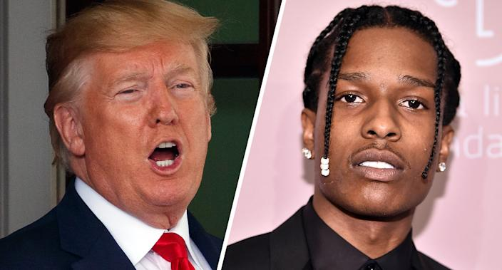 President Donald Trump and A$AP Rocky. (Photos: Carolyn Kaster/AP, Theo Wargo/Getty Images)