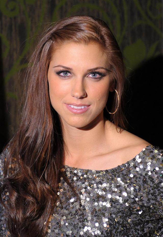 LAS VEGAS, NV - FEBRUARY 15: SI bodypaint model, soccer player Alex Morgan attends SI Swimsuit On Location hosted by Haze Nightclub at the Aria Resort & Casino at CityCenter on February 15, 2012 in Las Vegas, Nevada. (Photo by Michael Loccisano/Getty Images for Sports Illustrated)