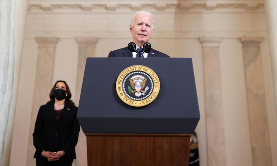 Joe Biden speaks on the verdict as Kamala Harris looks on, at the White House.