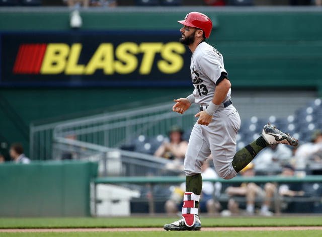 St. Louis Cardinals' Matt Carpenter rounds first after hitting a solo home run off Pittsburgh Pirates starting pitcher Trevor Williams to lead off the first inning of a baseball game in Pittsburgh, Saturday, May 26, 2018. (AP Photo/Gene J. Puskar)