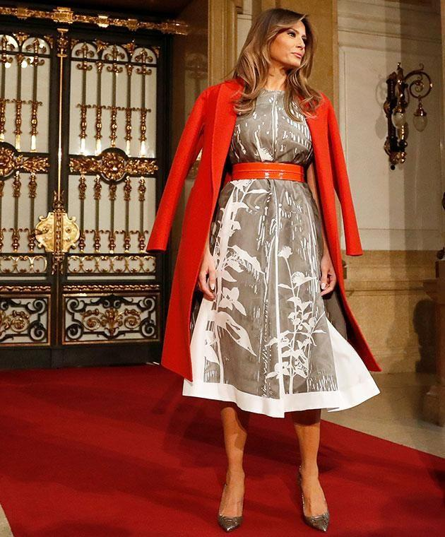 Melania's final look for her overseas tour has seen her applauded by fashionistas worldwide. Photo: Getty