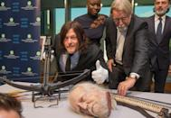 <p>Reedus and the rest of <i>The Walking Dead</i> cast visited the Smithsonian National Museum of American History to donate some unsettling props from the show. Obviously, Reedus approved. (Photo: Tasos Katopodis/Getty Images for AMC) </p>