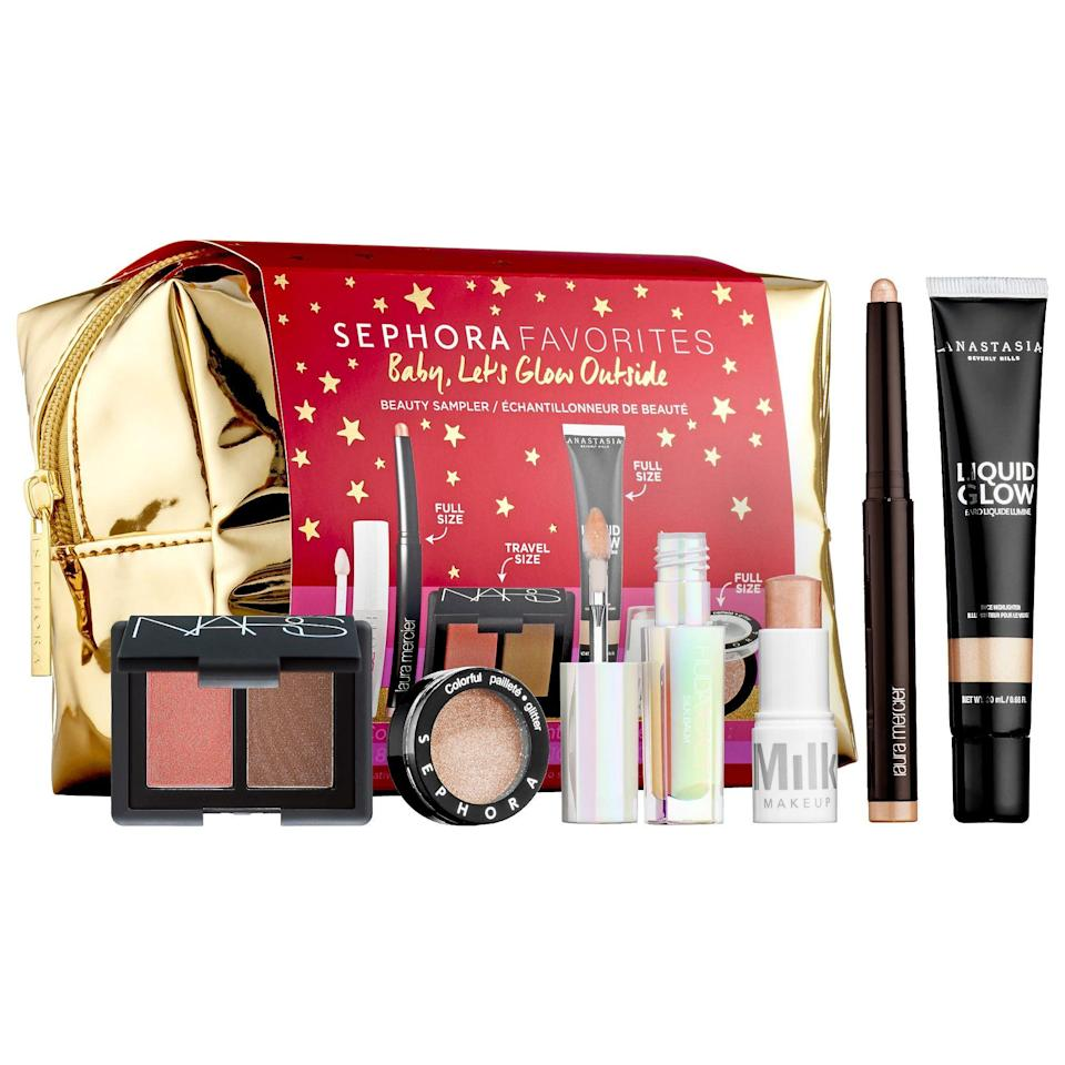 "<p><strong>Sephora Favorites</strong></p><p>sephora.com</p><p><strong>$42.00</strong></p><p><a href=""https://go.redirectingat.com?id=74968X1596630&url=https%3A%2F%2Fwww.sephora.com%2Fproduct%2Fsephora-favorites-baby-let-s-glow-outside-bronze-glow-set-P461528&sref=https%3A%2F%2Fwww.redbookmag.com%2Fbeauty%2Fg34587516%2Fsephora-beauty-gifts%2F"" rel=""nofollow noopener"" target=""_blank"" data-ylk=""slk:Shop Now"" class=""link rapid-noclick-resp"">Shop Now</a></p><p>Not sure which brand to go with? Opt for one of the Sephora Favorites gift sets, which include a nice mix with something for everyone. This particular set comes with six bronze-and-glow items, three full-size and three deluxe-size. There's lip balm, highlighter, eyeshadow, and more. </p>"