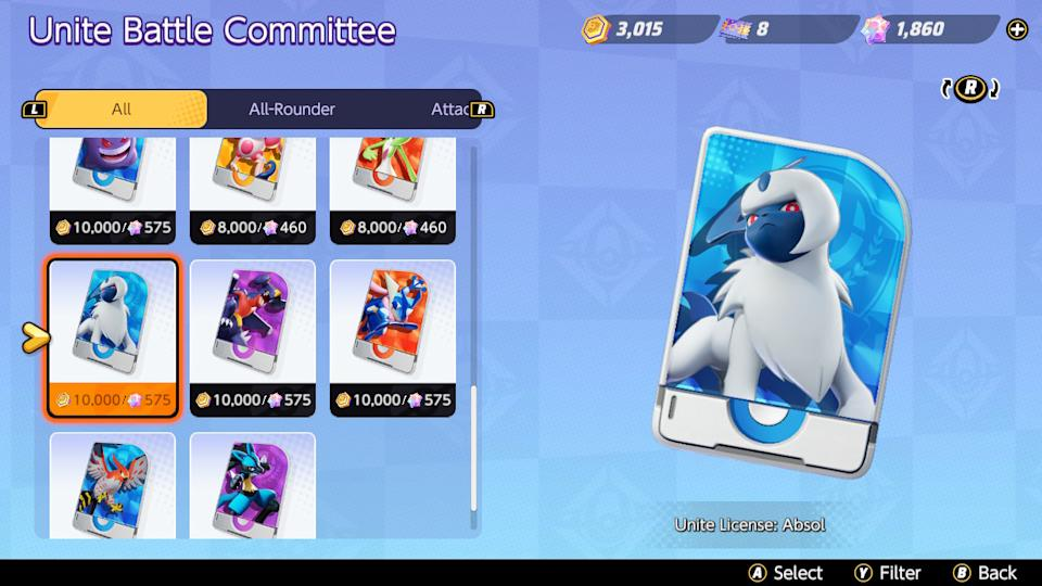 You are able to purchase Pokémon Licenses with Aeos Coins or Gems (Image: Nintendo)