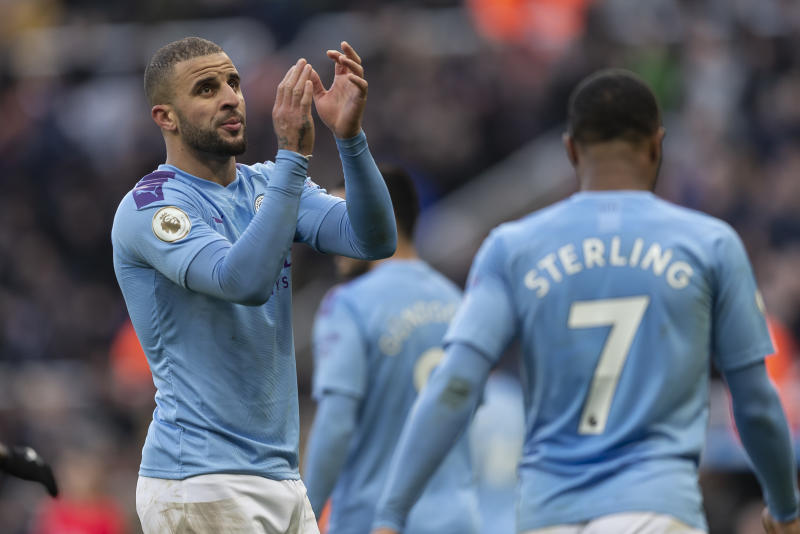 NEWCASTLE UPON TYNE, ENGLAND - NOVEMBER 30: Kyle Walker of Manchester City applauds the Manchester City fans after the Premier League match between Newcastle United and Manchester City at St. James Park on November 30, 2019 in Newcastle upon Tyne, United Kingdom. (Photo by Daniel Chesterton/Offside/Offside via Getty Images)