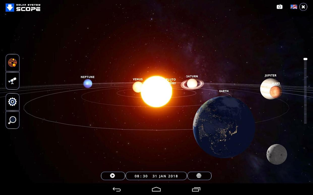 "The free Solar System Scope app features a 3D model of the solar system that you can manipulate to better understand the motions of the moon and planets. You can select a specific date and time, or allow time to flow forwards and watch things move. Here, the Jan. 31, 2018 total lunar eclipse is modeled. The software is available in both browser and mobile versions, and includes a sky chart mode for night-time skywatchers. <cite><a href=""https://www.solarsystemscope.com/"" rel=""nofollow noopener"" target=""_blank"" data-ylk=""slk:Solar System Scope"" class=""link rapid-noclick-resp"">Solar System Scope</a></cite>"