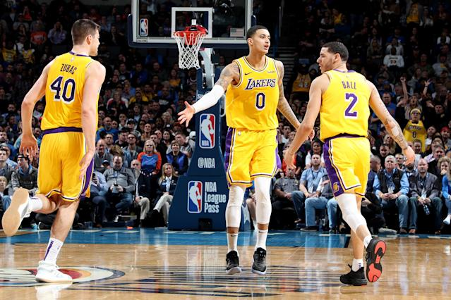 OKLAHOMA CITY, OK- JANUARY 17: Los Angeles Lakers forward Kyle Kuzma #0 celebrates with his teammates after a play during the game against the Oklahoma City Thunder on January 17, 2019 at Chesapeake Energy Arena in Oklahoma City, Oklahoma. (Photo by Zach Beeker/NBAE via Getty Images)