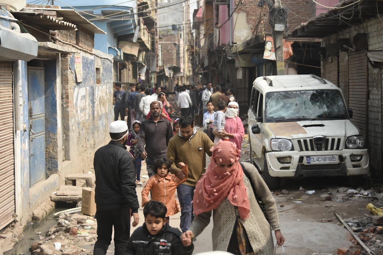 DELHI, INDIA - FEBRUARY 26 : Locals are moving from Bhagirathi Vihar in Mustafabad following the Citizenship Amendment Act (CAA) clashes in Delhi, India on February 26, 2020. (Photo by Javed Sultan/Anadolu Agency via Getty Images)