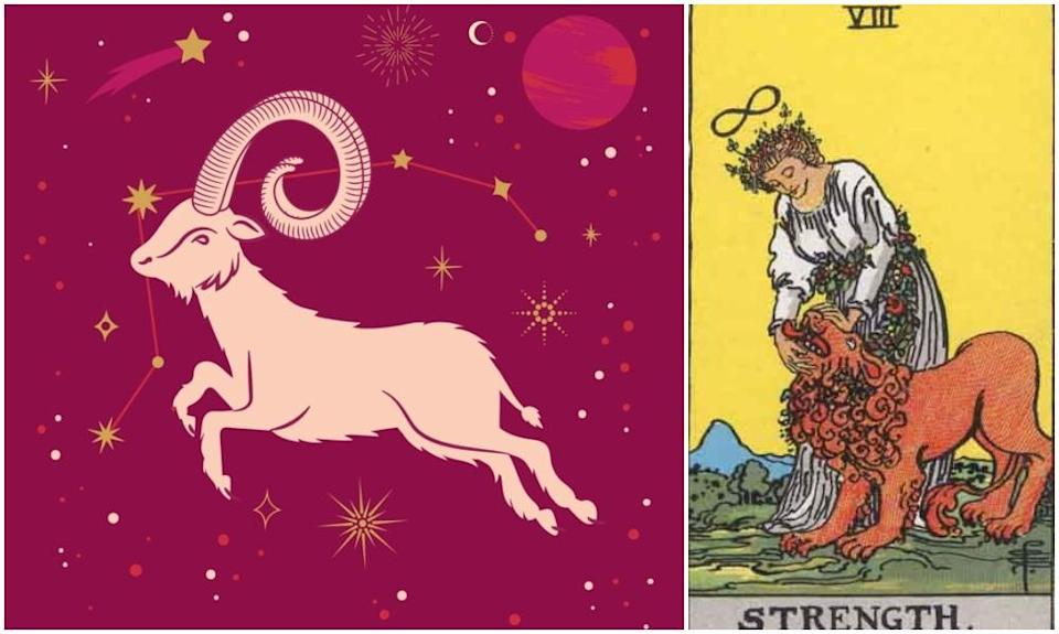 Aries star sign, at left and Strength card, at right. Photos: Mixkit, Wikimedia Commons