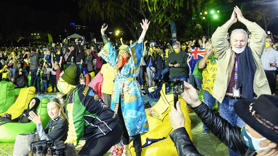 Spectators, pictured here celebrating after Brisbane was announced the host of the 2032 Olympics.