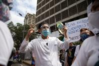 Healthcare workers protest against low wages in Caracas