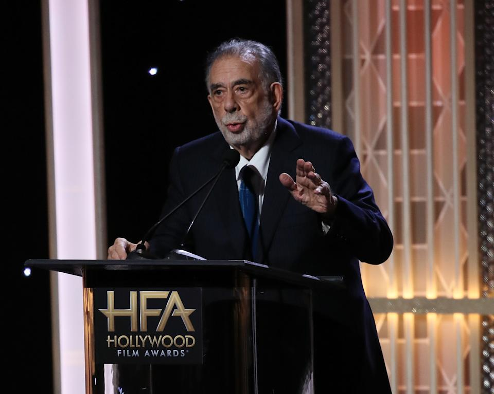 BEVERLY HILLS, CALIFORNIA - NOVEMBER 03: Francis Ford Coppola appears on stage at the 23rd Annual Hollywood Film Awards show at The Beverly Hilton Hotel on November 03, 2019 in Beverly Hills, California. (Photo by David Livingston/Getty Images)