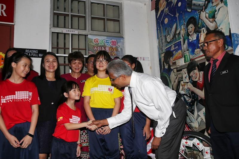 P. Waytha Moorthy visits the USJ 15 Vision School complex in Subang Jaya September 13, 2019. — Picture by Choo Choy May