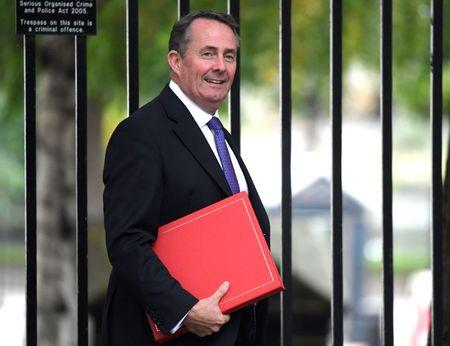 Britain's International Trade Secretary, Liam Fox, arrives for a meeting in Downing Street in central London