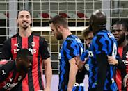 Zlatan Ibrahimovic (L) was involved in a furious row with Romelu Lukaku and later sent off as AC Milan lost to Inter Milan in the Italian Cup