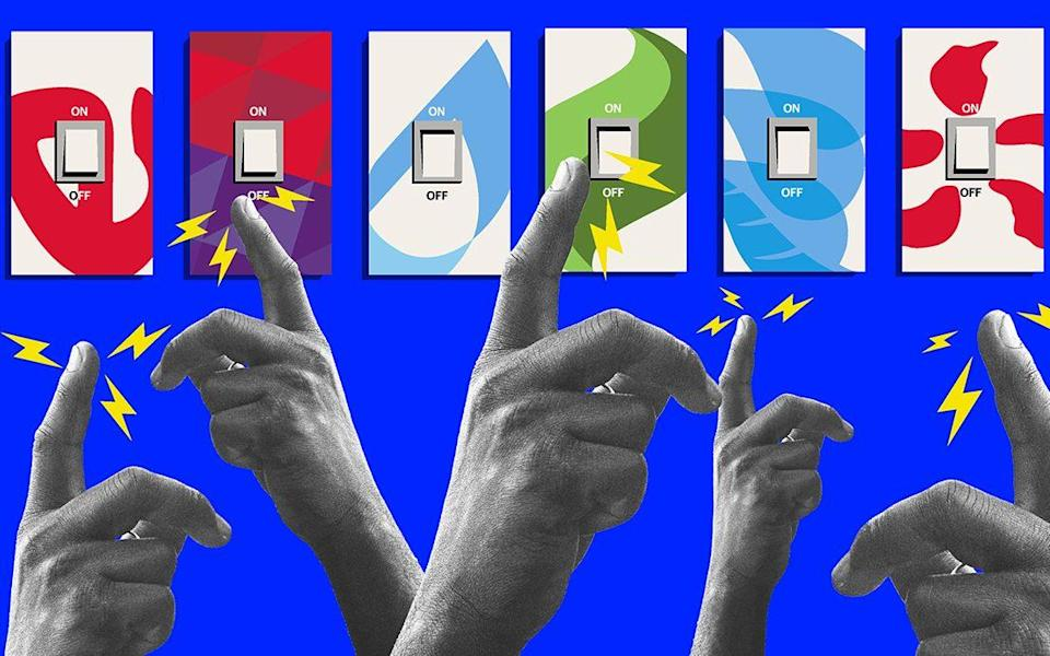 Hands pressing light switches