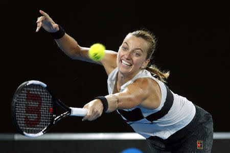 Tennis - Australian Open - Women's Singles Final - Melbourne Park, Melbourne, Australia, January 26, 2019. Czech Republic's Petra Kvitova in action during her match against Japan's Naomi Osaka. REUTERS/Adnan Abidi