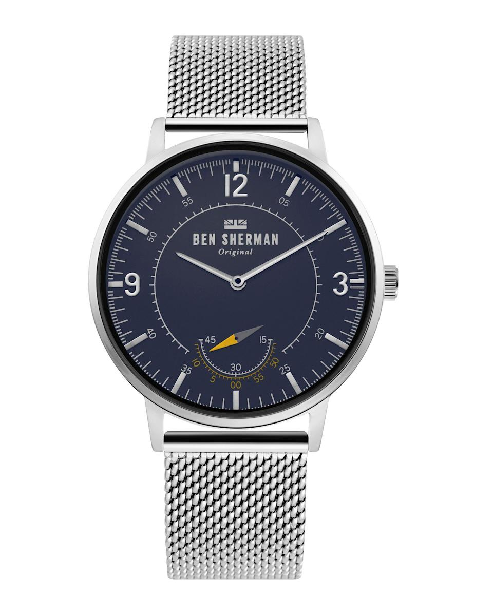 """<p><strong>Ben Sherman</strong></p><p>bensherman.com</p><p><strong>$99.00</strong></p><p><a href=""""https://www.bensherman.com/collections/mens-watches/products/wb034-usm-portobello-heritage-watch-silver-blue-silver"""" rel=""""nofollow noopener"""" target=""""_blank"""" data-ylk=""""slk:Shop Now"""" class=""""link rapid-noclick-resp"""">Shop Now</a></p><p>This watch isn't too much, it's just enough.</p>"""