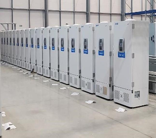 Specialist freezers await distribution of COVID-19 vaccines to the NHS