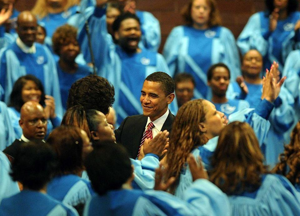 """<p>On the heels of his presidency, then-Senator Barack Obama gave a <a href=""""https://www.politico.com/story/2008/06/text-of-obamas-fatherhood-speech-011094"""" rel=""""nofollow noopener"""" target=""""_blank"""" data-ylk=""""slk:heartfelt sermon"""" class=""""link rapid-noclick-resp"""">heartfelt sermon</a> at Apostolic Church of God in Chicago. """"Of all the rocks upon which we build our lives, we are reminded today that family is the most important. And we are called to recognize and honor how critical every father is to that foundation,"""" he said.</p>"""