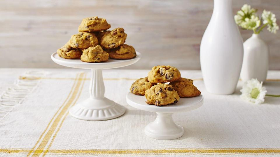 "<p><strong>Recipe: </strong><a href=""http://www.southernliving.com/recipes/pumpkin-chocolate-chip-cookies-recipe"" rel=""nofollow noopener"" target=""_blank"" data-ylk=""slk:Pumpkin Chocolate Chip Cookies"" class=""link rapid-noclick-resp""><strong>Pumpkin Chocolate Chip Cookies</strong></a></p> <p>When you find yourself with <a href=""https://www.southernliving.com/veggies/squash/canned-pumpkin"" rel=""nofollow noopener"" target=""_blank"" data-ylk=""slk:extra canned pumpkin"" class=""link rapid-noclick-resp"">extra canned pumpkin</a> this fall, promise us you'll use it for this seasonal delight of a recipe.</p>"
