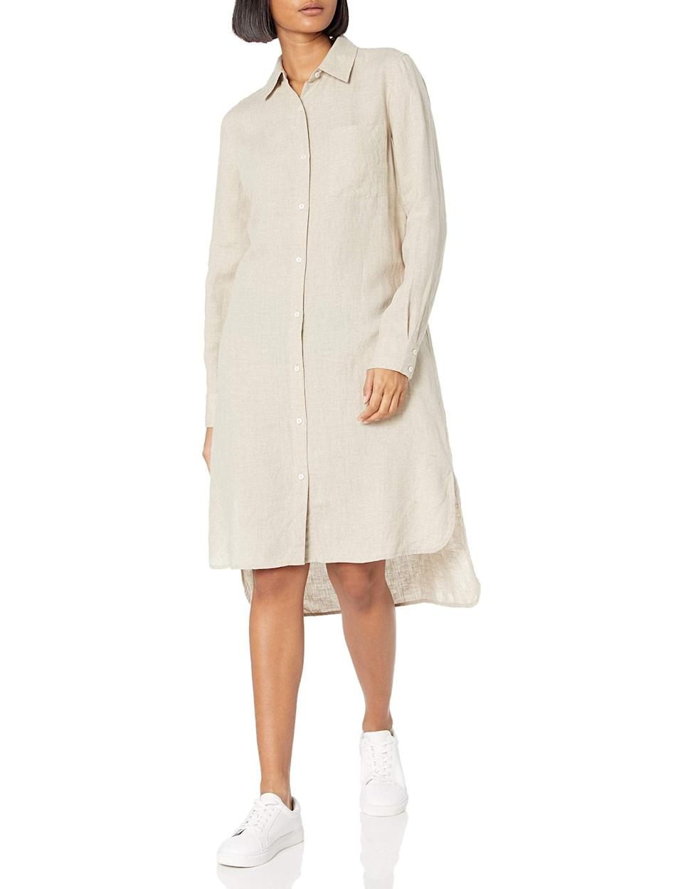 """<br><br><strong>The Drop</strong> Celine Long Sleeve Loose-Fit Midi Shirt Dress, $, available at <a href=""""https://amzn.to/3c95Kka"""" rel=""""nofollow noopener"""" target=""""_blank"""" data-ylk=""""slk:Amazon Fashion"""" class=""""link rapid-noclick-resp"""">Amazon Fashion</a>"""