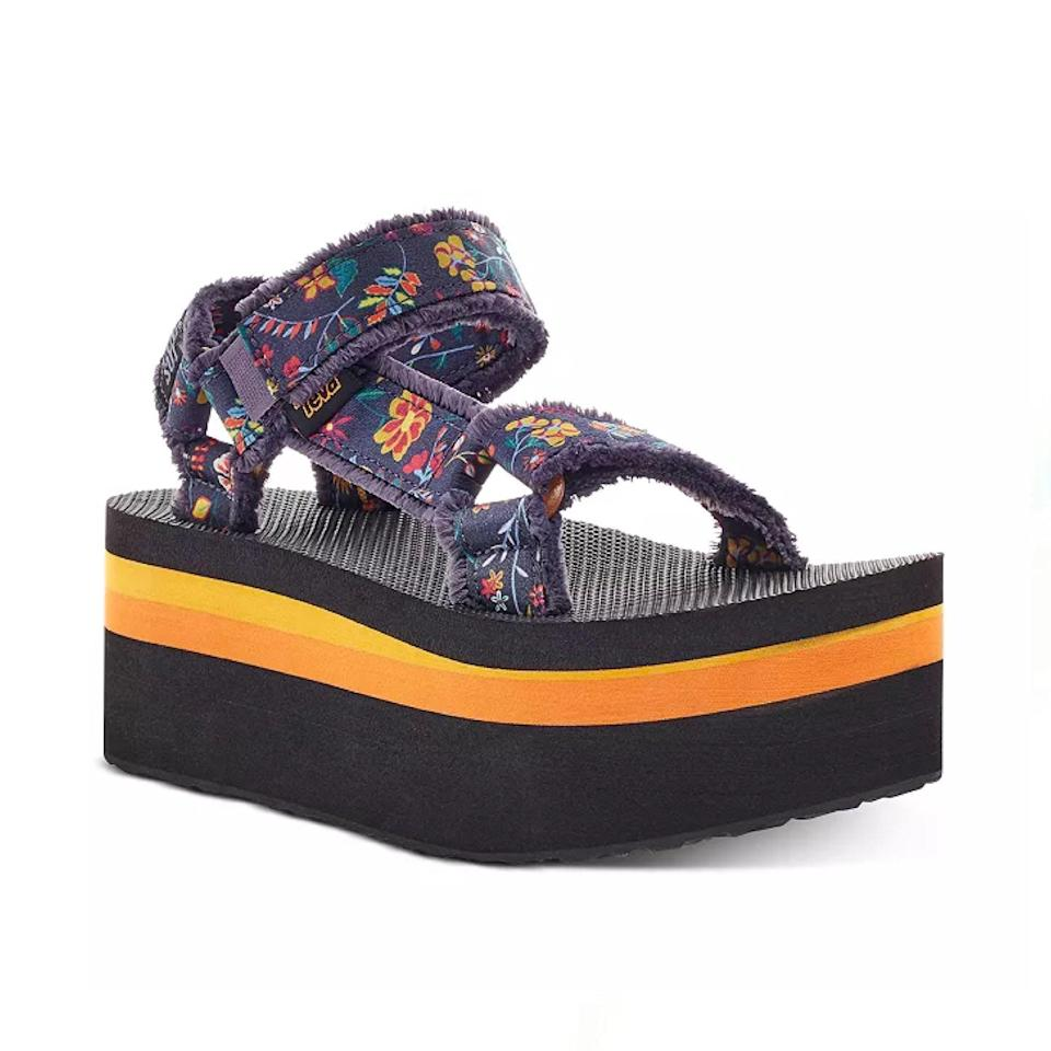 """Tevas <a href=""""https://www.glamour.com/story/best-teva-sandals?mbid=synd_yahoo_rss"""" rel=""""nofollow noopener"""" target=""""_blank"""" data-ylk=""""slk:have come a long way"""" class=""""link rapid-noclick-resp"""">have come a long way</a> since it was associated with being a shoe for hippies or backpackers only, especially now that the brand has collaborated with legendary designer Anna Sui on cute designs like this one. $150, Bloomingdale's. <a href=""""https://www.bloomingdales.com/shop/product/teva-x-anna-sui-womens-flatform-universal-anna-sandals?ID=3811072"""" rel=""""nofollow noopener"""" target=""""_blank"""" data-ylk=""""slk:Get it now!"""" class=""""link rapid-noclick-resp"""">Get it now!</a>"""
