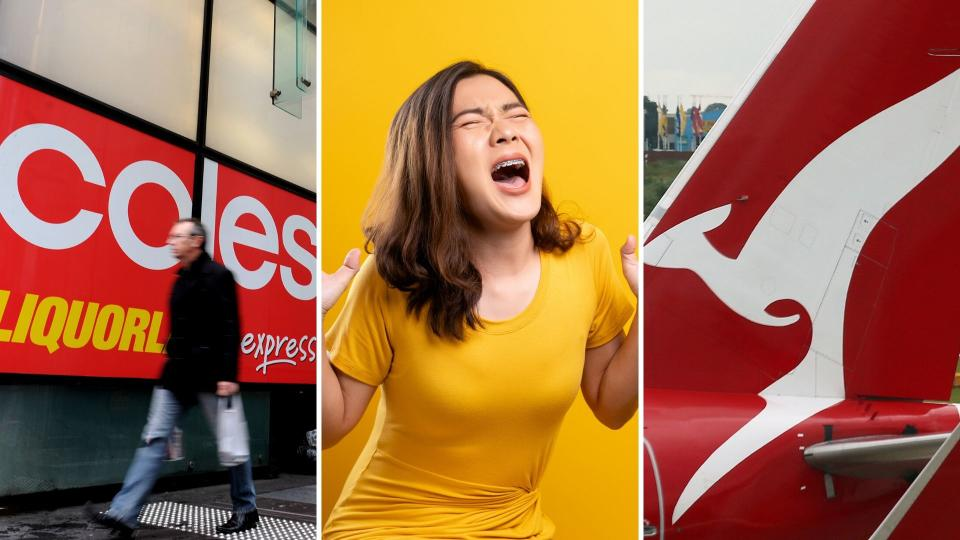 A Coles sign on the left, an anxious woman in the centre and a Qantas plane on the right.