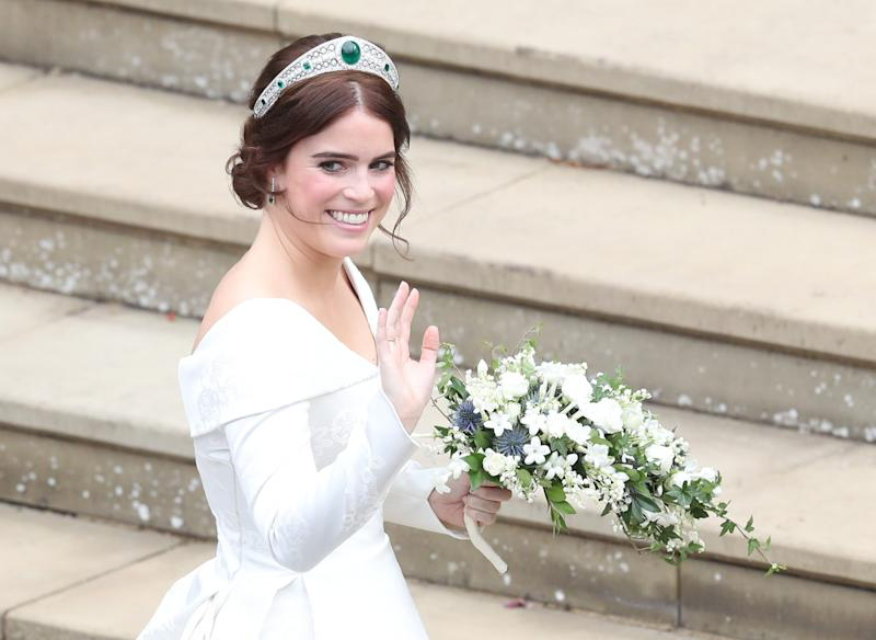 WINDSOR, ENGLAND - OCTOBER 12: Princess Eugenie of York arrives to be wed to Mr. Jack Brooksbank at St. George's Chapel on October 12, 2018 in Windsor, England. (Photo by Andrew Matthews - WPA Pool/Getty Images)